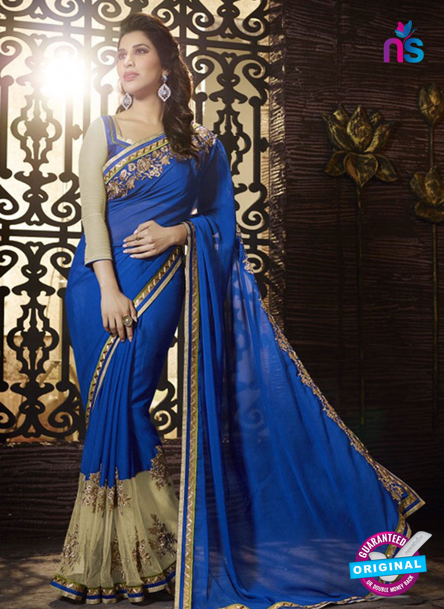 SC 13511 Blue and Beige Designer Fancy Traditional Party Wear Saree