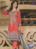 NS 12375 Red and Multicolor Embroidered Printed Lawn Party Wear Pakistani Suit