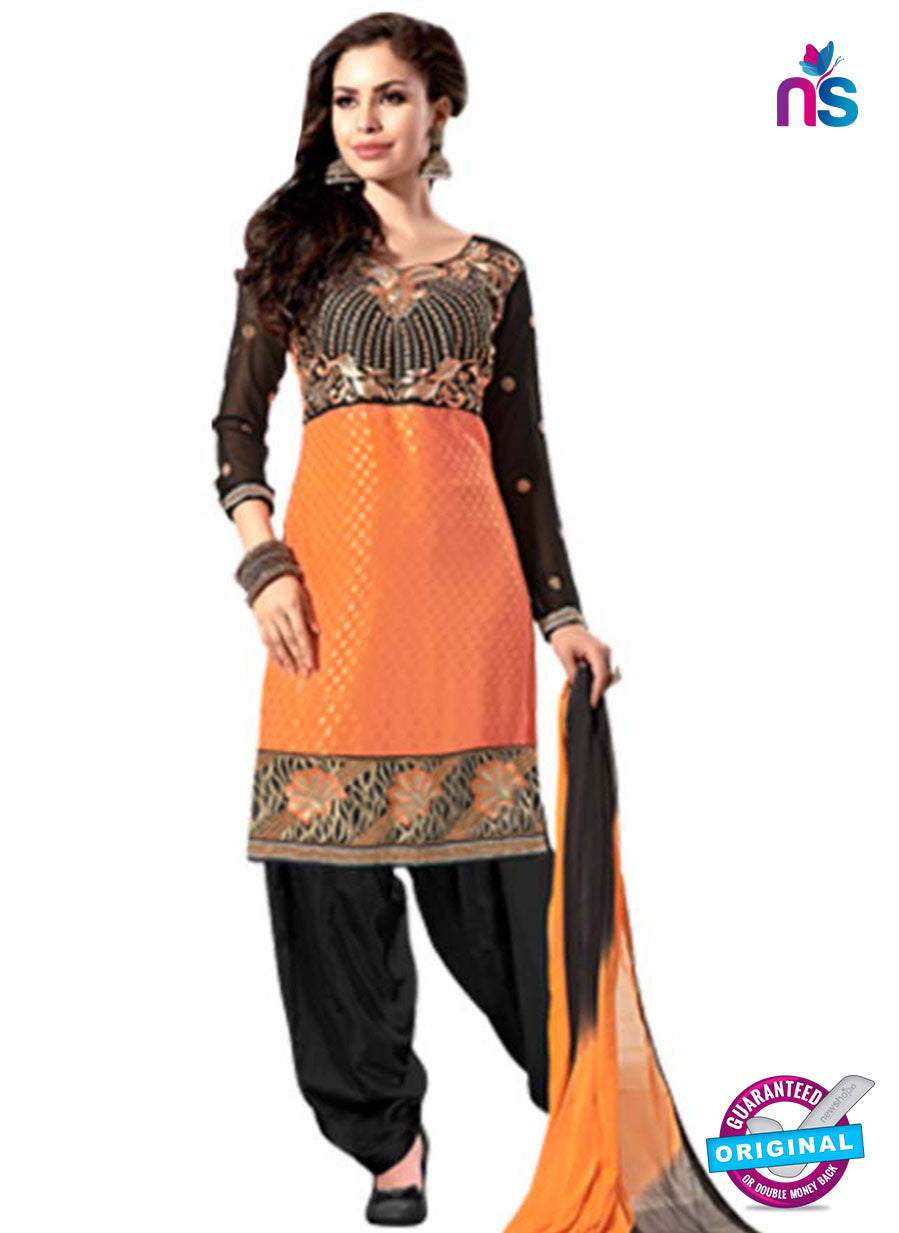 NS12248 Orange and Black Straight Suit