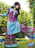 NS 12293 Pink and Blue Cotton Satin Party Wear Plazzo Suit