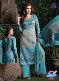 SC 13718 Sky Blue and Grey Glace Cotton Designer Exclusive Fancy Un-stitched Straight Plazo Suit