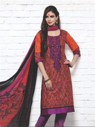 NS11413 Purple and Multicolor Cotton Satin Pakistani Suit