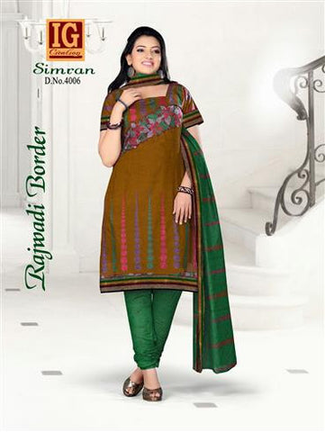 NS11701 ChocolateBrown and Green Printed Popplin Cotton Daily Wear Chudidar Suit Online