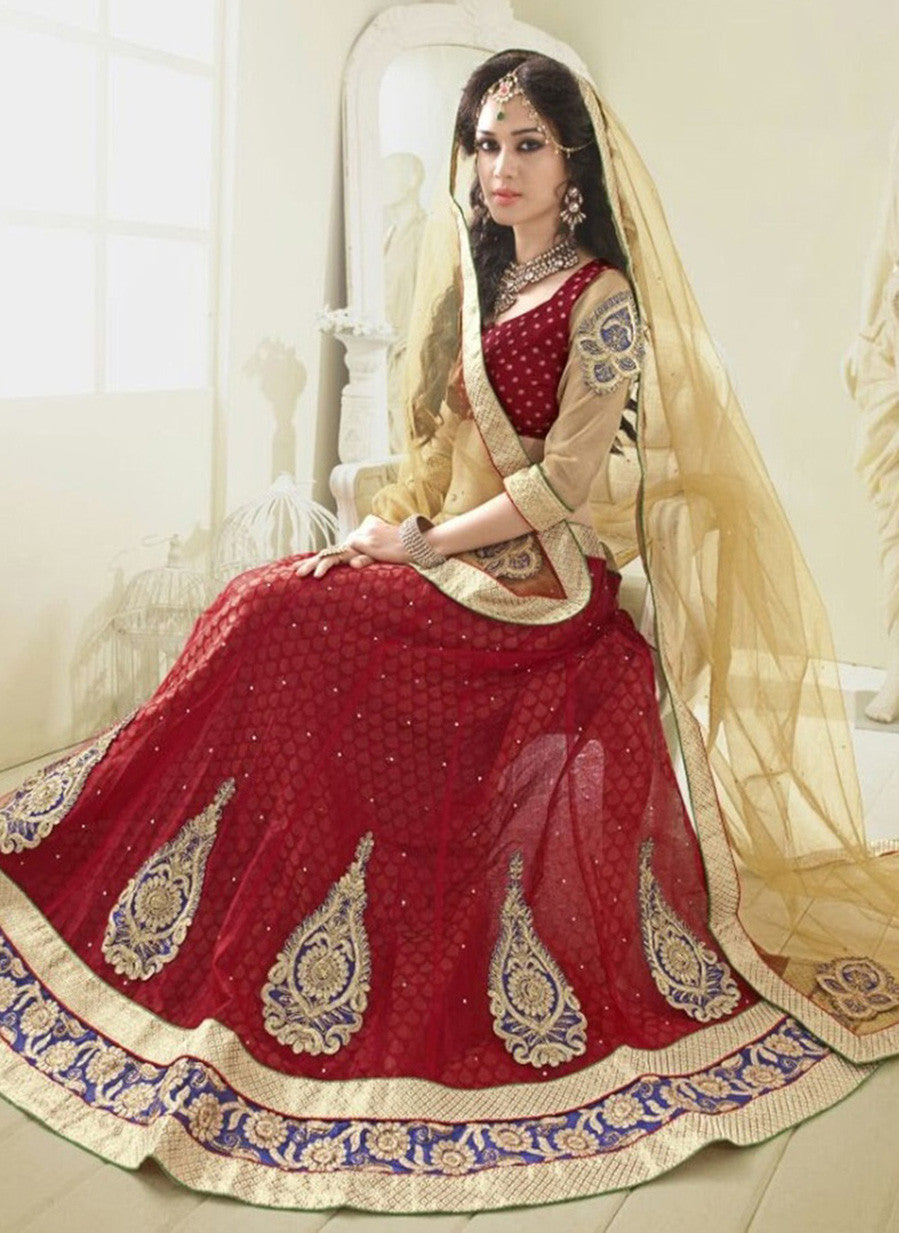 NS11802  Beige & Red Color Net Designer Lehenga