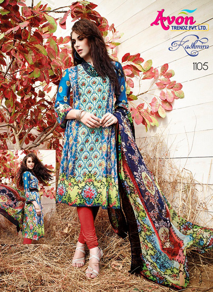Avon 1105 Blue & Red Color Glace Cotton Designer Suit