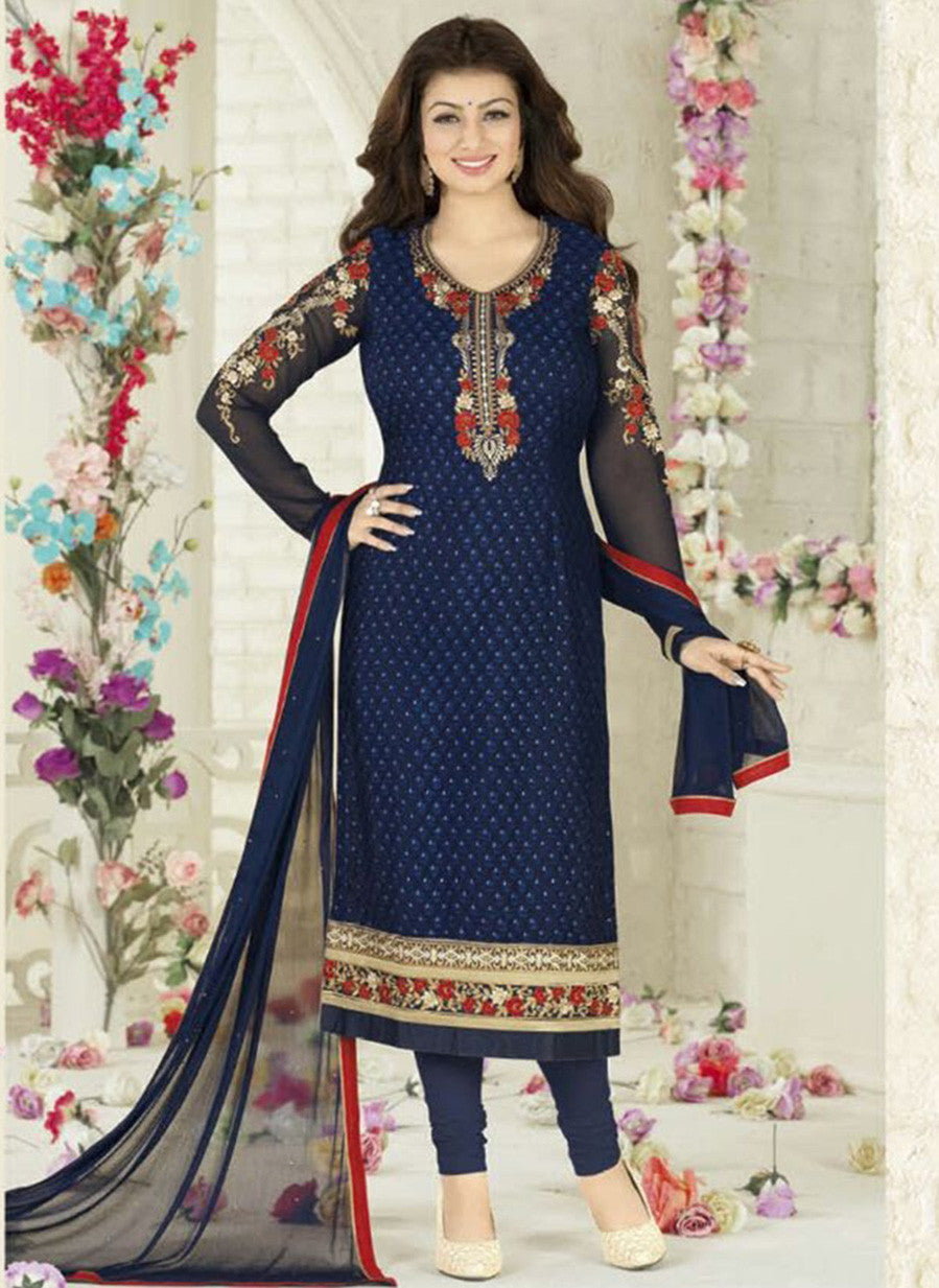 Avon B Blue Color Georgette Designer Suit