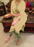 SC 12430  Beige and Green Georgette Party Wear Designer Suit