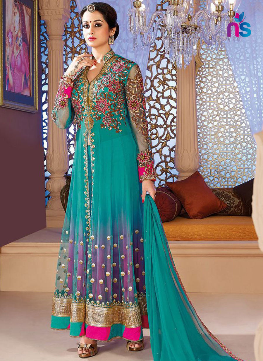 SC 12415  Blue and Pink Net Anarkali Replica Suit