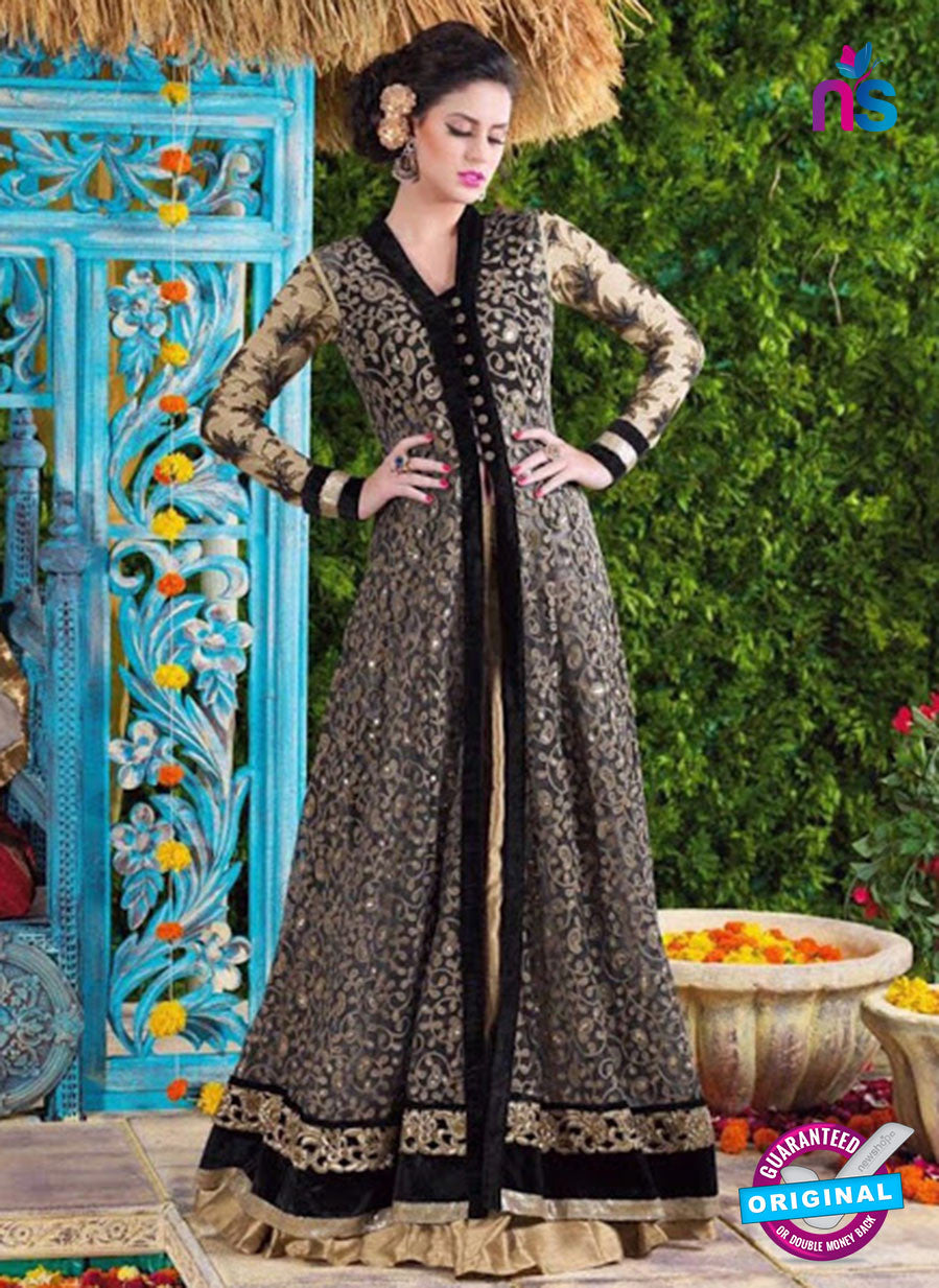 SC 12422  Black and Beige Embroidered Net Party Wear Designer Suit