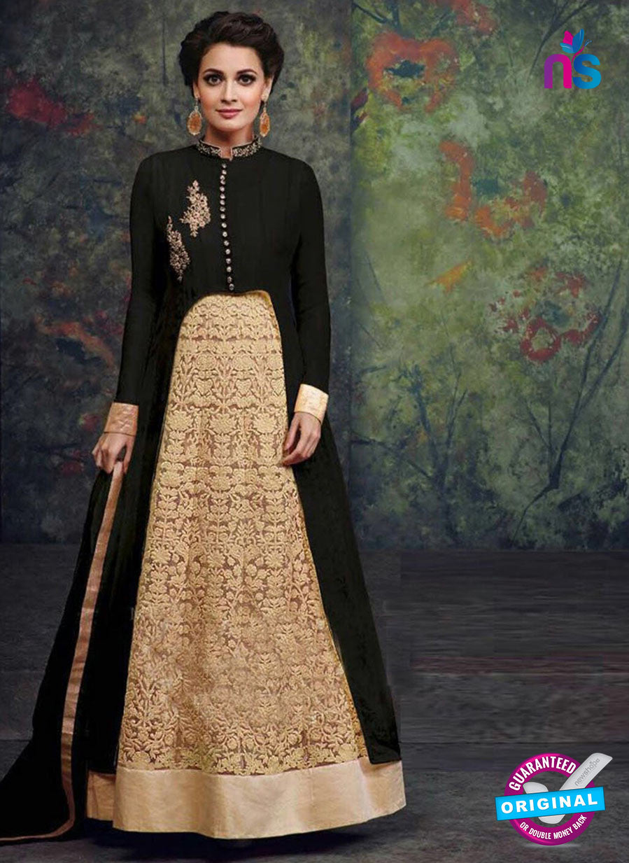 SC 12442  Black and Beige Embroidered Faux Georgette Anarkali Style Designer Suit