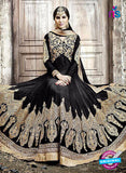 SC 13251 Black and Golden Embroidered Shimmer Georgette Fancy Anarkali Suit