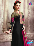 SC 13538 Black and Pink Embroidered Georgette Designer Semi Stitched Party Wear Straight Suit