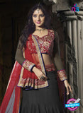 SC 12343 Black and Maroon Valvet and Georgette Party Wear Lehenga Choli