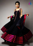 SC 12469 Black and Magenta Georgette Designer Replica