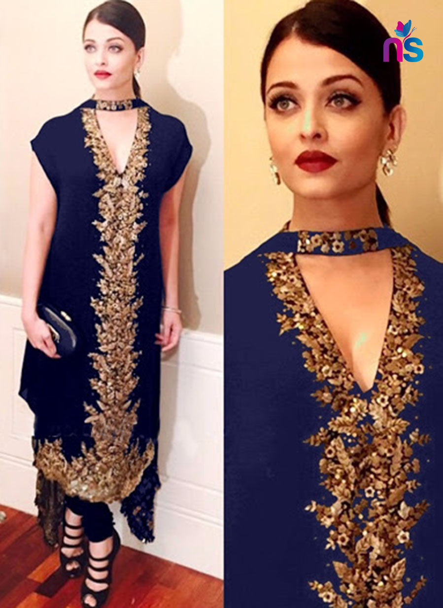 SC 12451  Blue and Golden Party Wear Georgette Designer Replica Suit