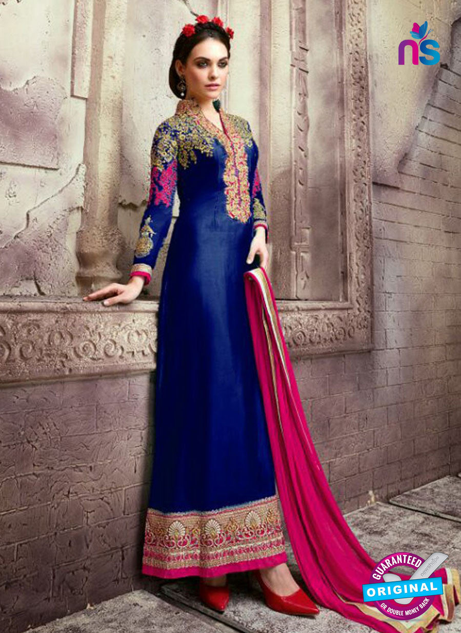 SC 13539 Blue and Pink Embroidered Georgette Designer Semi Stitched Party Wear Straight Suit