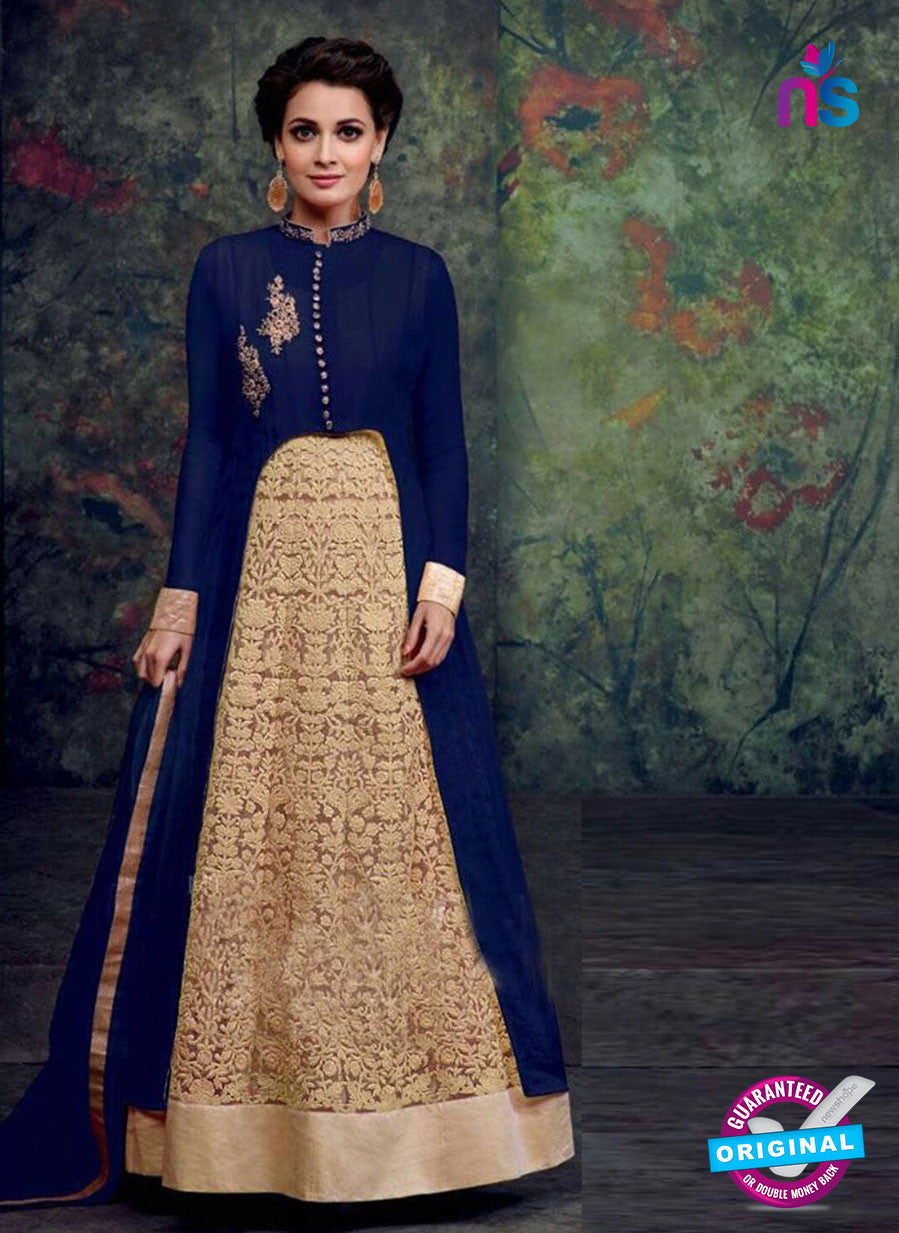 SC 12440  Blue and Beige Embroidered Faux Georgette Anarkali Style Designer Suit