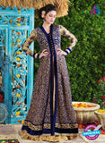 SC 12423  Blue and Beige Embroidered Net Party Wear Designer Suit