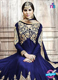 SC 13253 RoyalBlue and Golden Embroidered Shimmer Georgette  Fancy Anarkali Suit
