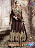SC 13250 Brown and Golden Embroidered Shimmer Georgette Fancy Anarkali Suit