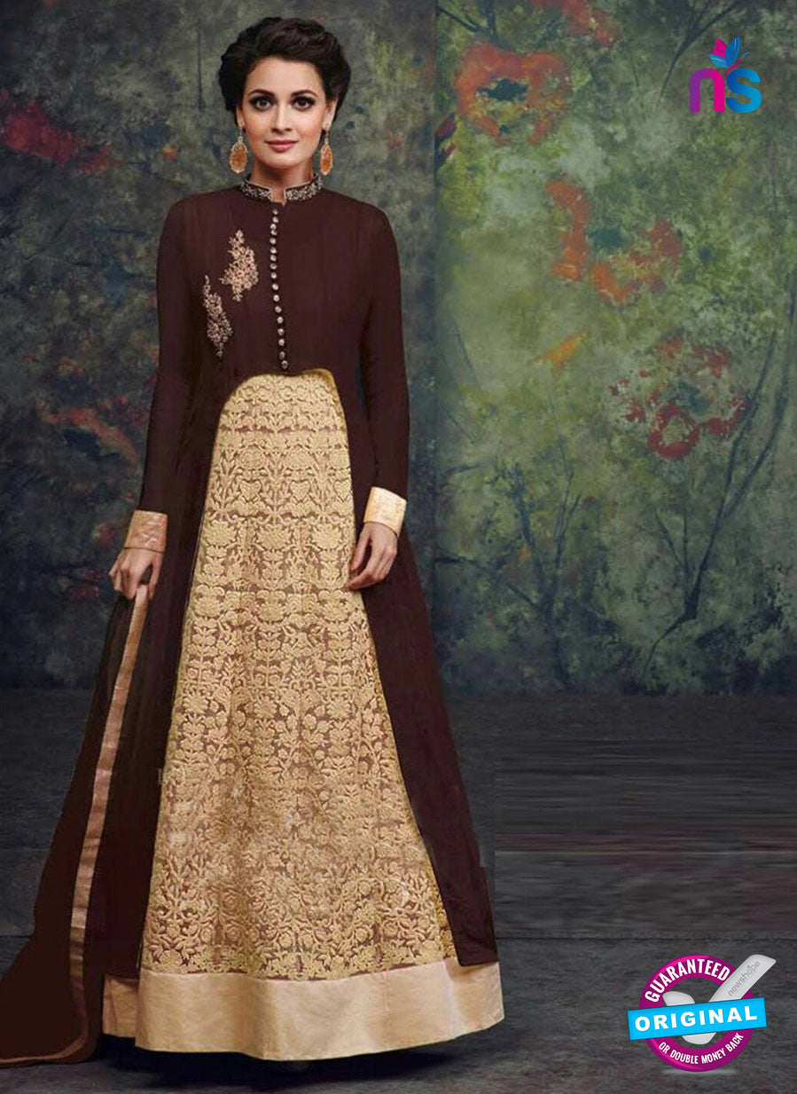 SC 12443  Brown and Beige Embroidered Faux Georgette Anarkali Style Designer Suit