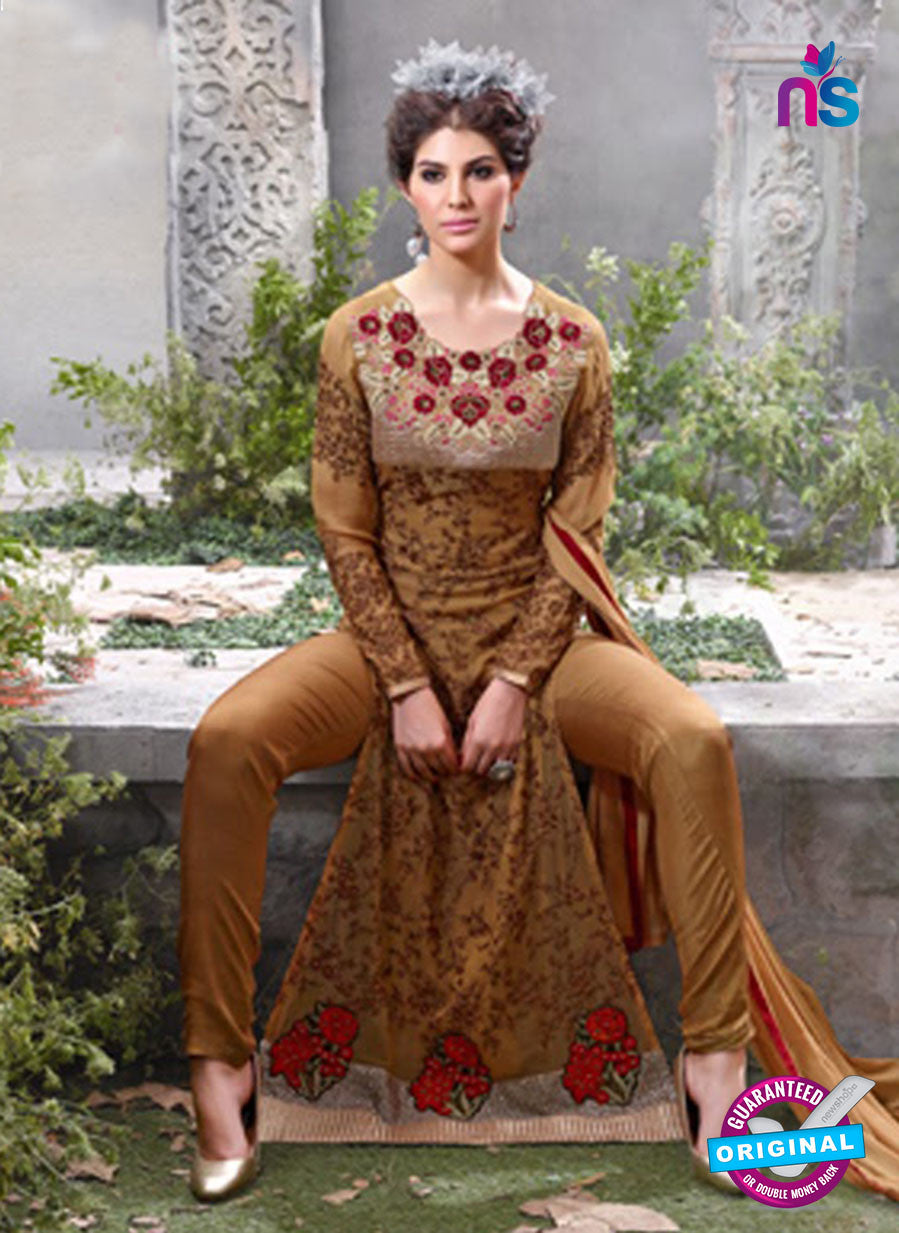 SC 12554 Brown Embroidered Georgette Party WearDesigner Suit