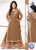 SC 12563 Brown Embroidered Georgette Party Wear Designer Plazo Suit