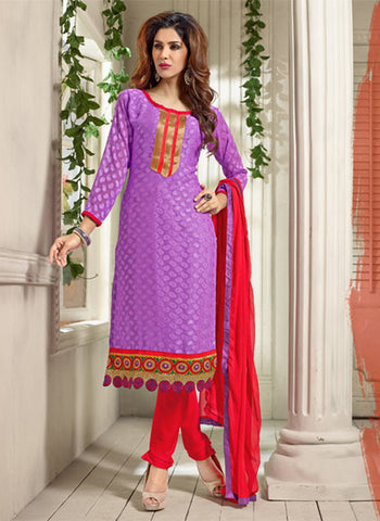NS11556 Purple and Red Designer Brasso Straight Suit