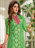 NS11557 Green and Pink Designer Brasso Straight Suit