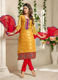 NS11558 Yellow and Red Designer Brasso Straight Suit