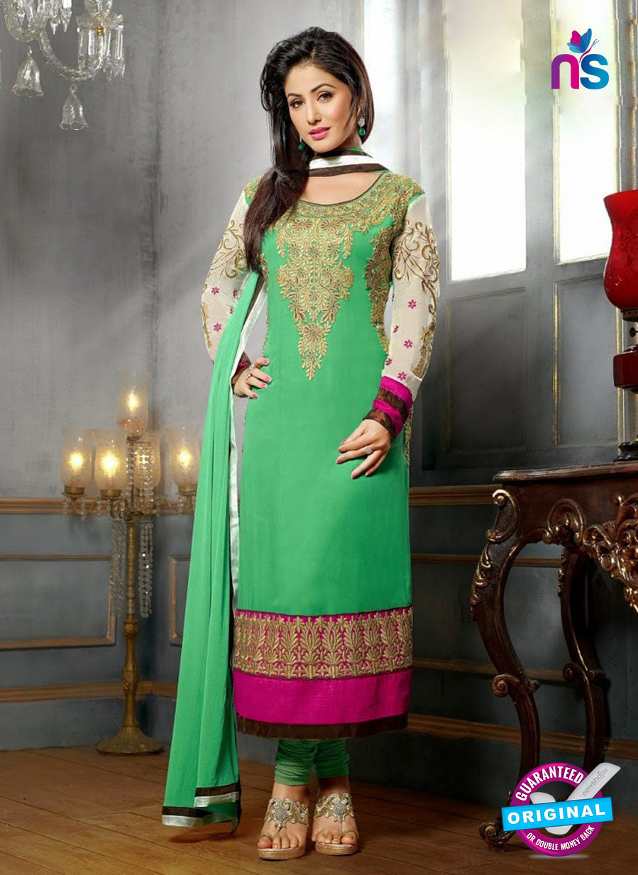 NS10702 A Parrot Green and Magenta Designer Straight Suit