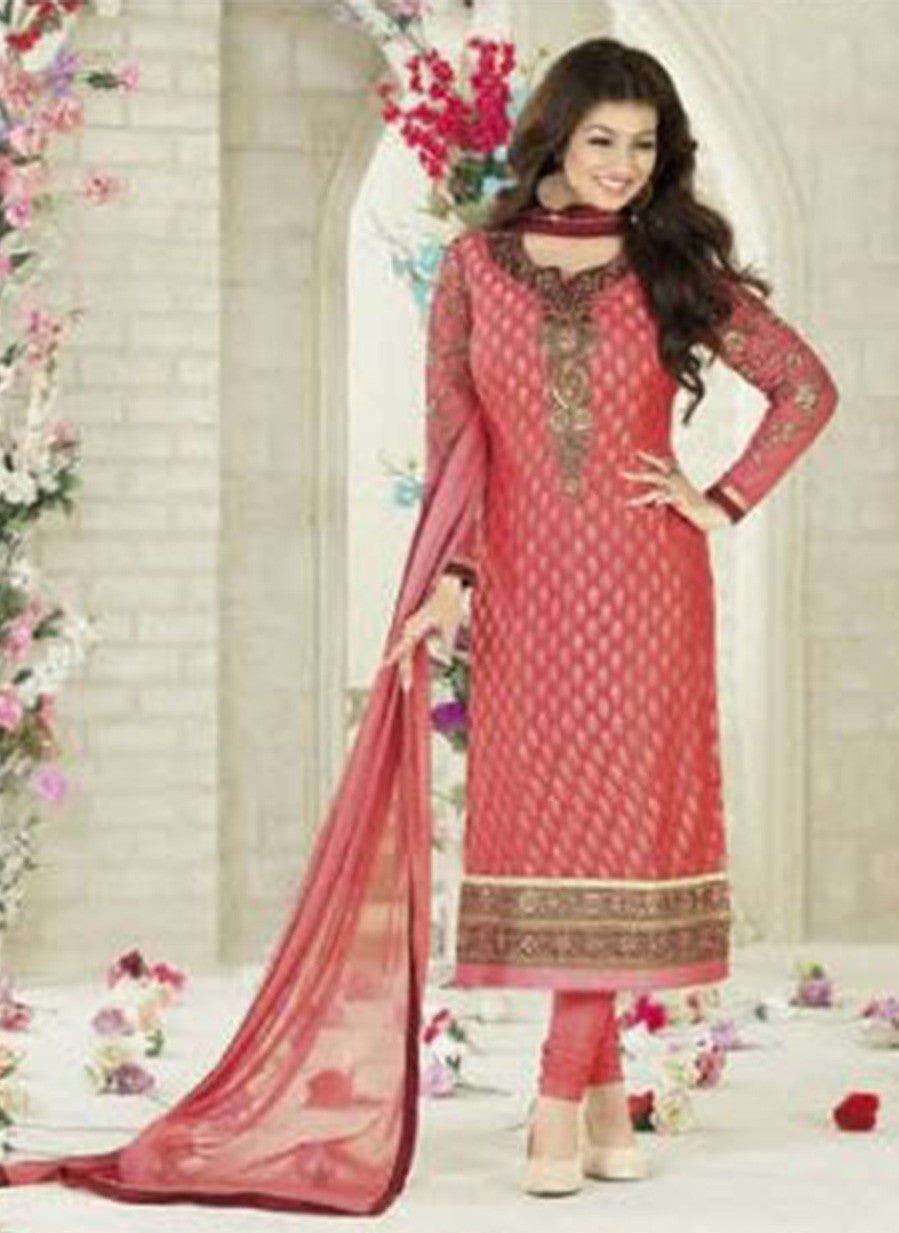 Avon D Peach Color Georgette Designer Suit