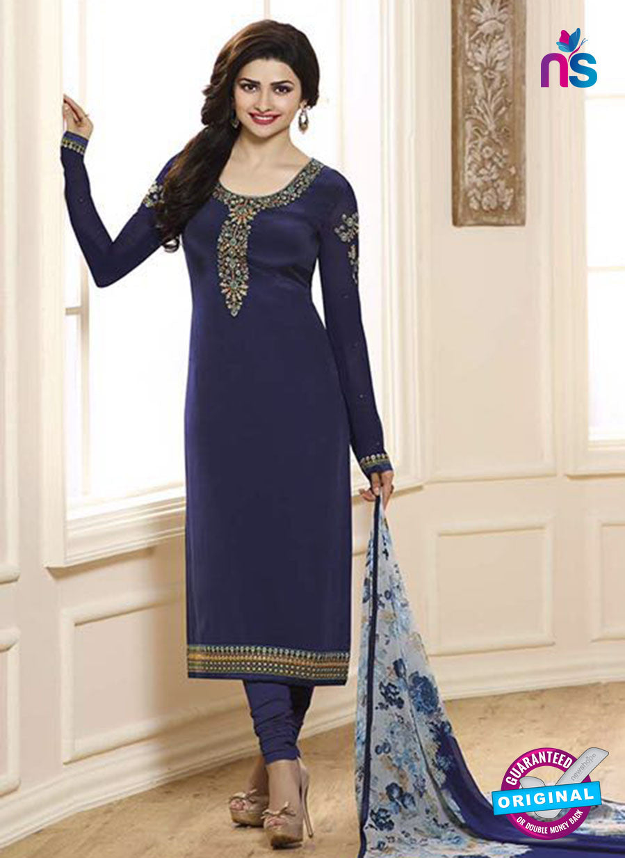 Vinay Fashion 3841 Blue Embroidered Crape and Georgette Party Wear Straight Suit