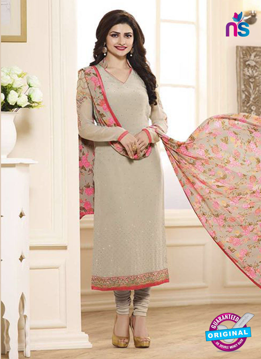 Vinay Fashion 3842 Beige Embroidered Crape and Georgette Party Wear Straight Suit