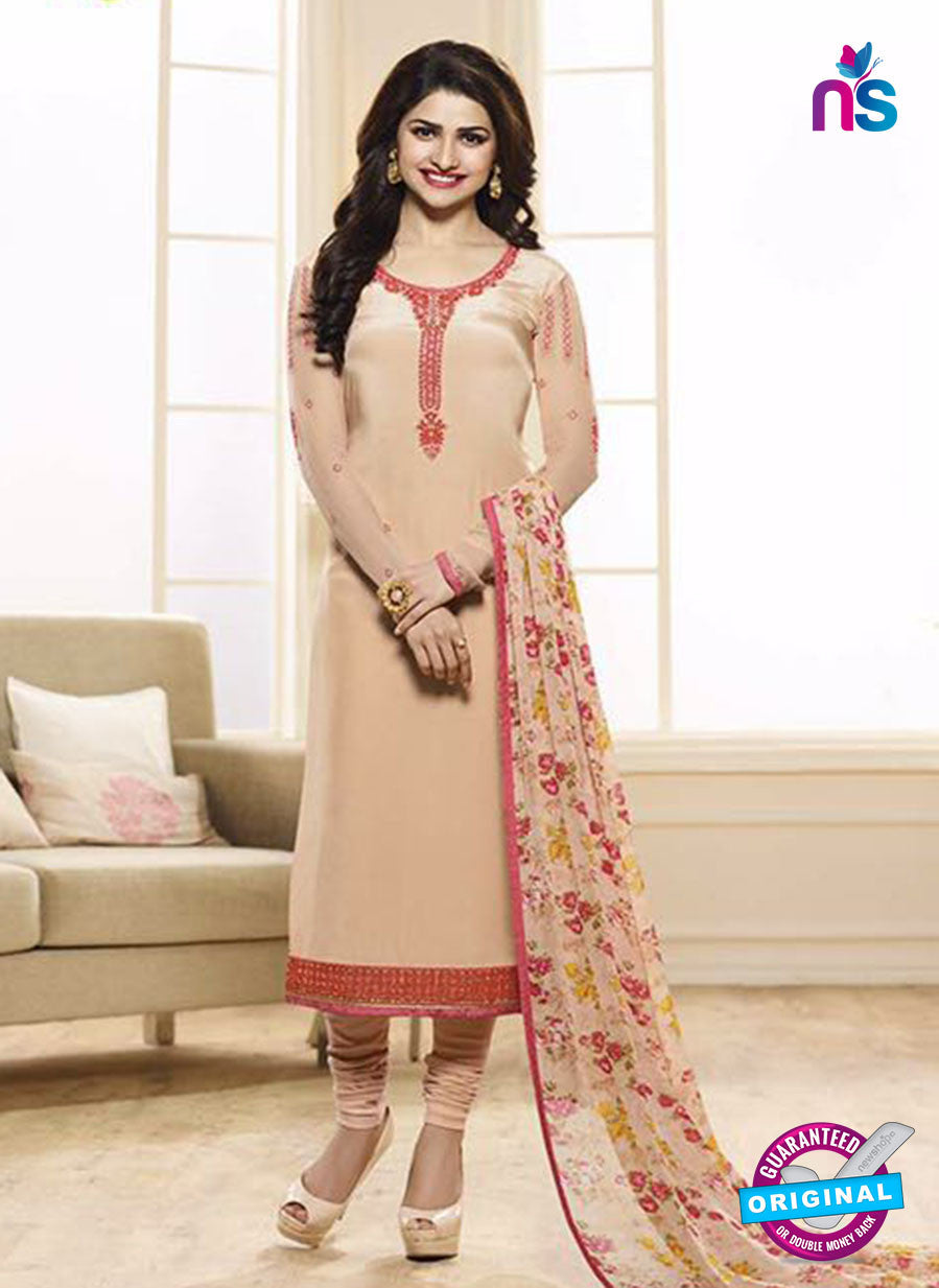 Vinay Fashion 3845 Beige Embroidered Crape and Georgette Party Wear Straight Suit