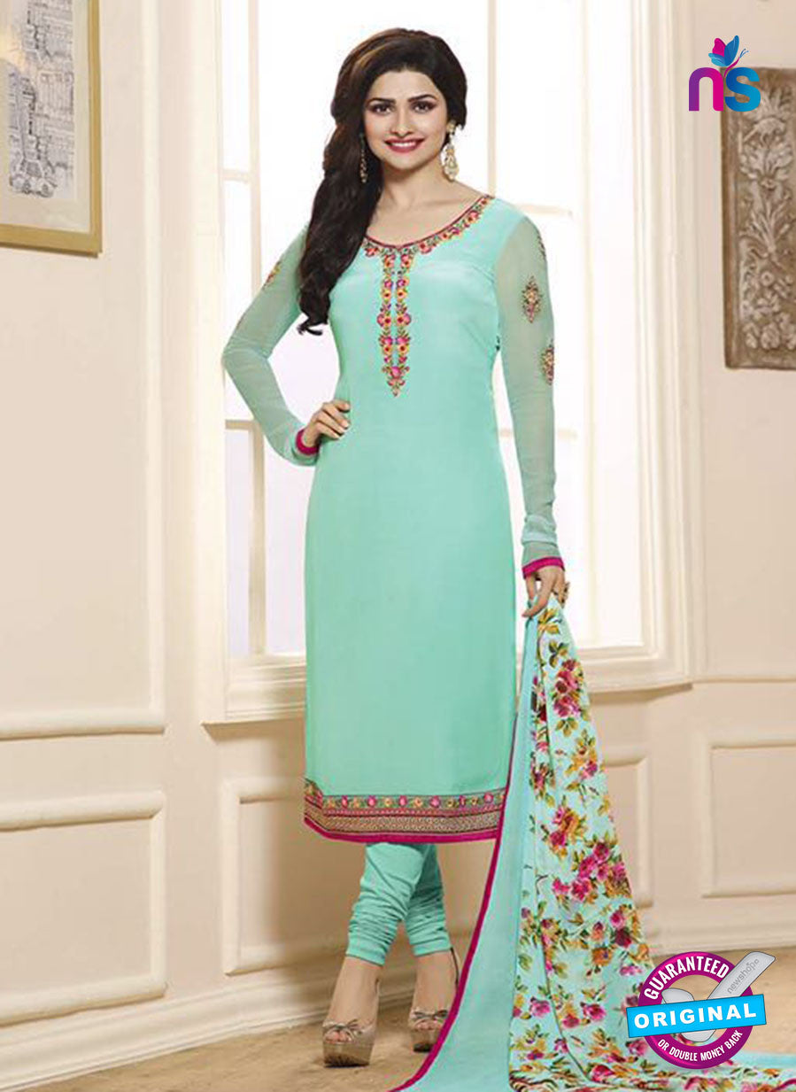 Vinay Fashion 3846 Sea Green Embroidered Crape and Georgette Party Wear Straight Suit