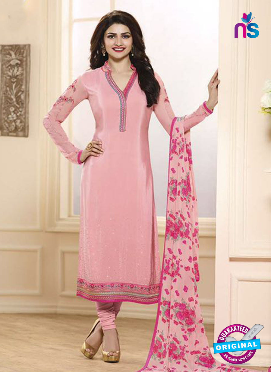 Vinay Fashion 3849 Pink Embroidered Crape and Georgette Party Wear Straight Suit