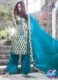 Ganga 6051 Sky Blue and Beige Printed Glace Cotton Pakistani Suit