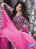 Ganga 6052 Pink and Blue Printed Glace Cotton Pakistani Suit