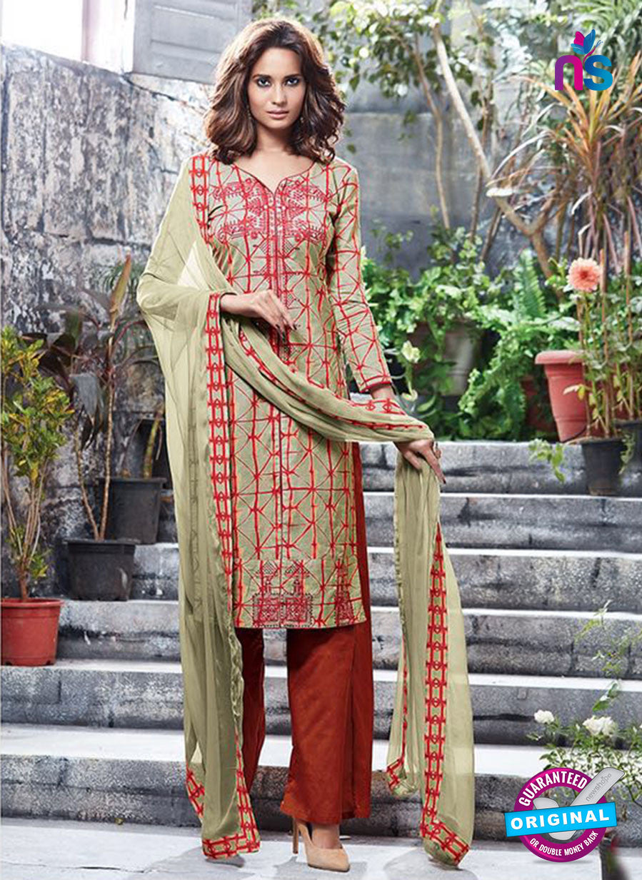 Ganga 6053 Sky Beige and Red Printed Glace Cotton Pakistani Suit