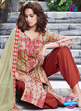Ganga 6053 Beige and Red Printed Glace Cotton Pakistani Suit