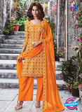 Ganga 6054 Yellow and Orange Printed Glace Cotton Pakistani Suit