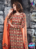 Ganga 6055 Maroon and Peach Printed Glace Cotton Pakistani Suit