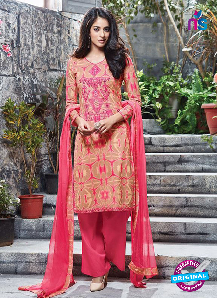 Ganga 6057 Beige and Pink Printed Glace Cotton Pakistani Suit