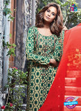 Ganga 6058 Green and Red Printed Glace Cotton Pakistani Suit