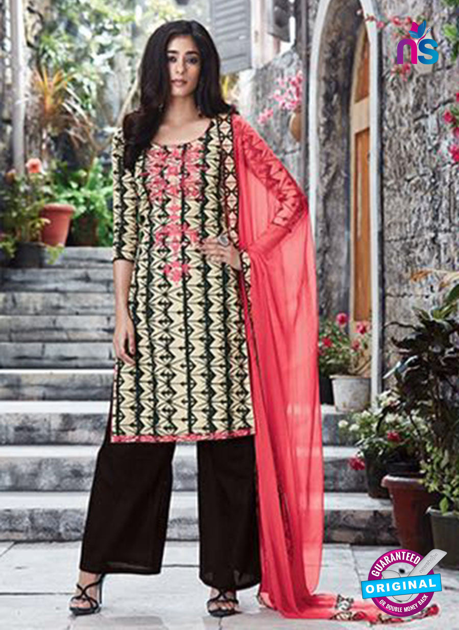 Ganga 6059 Beige, Black and Peach Printed Glace Cotton Pakistani Suit