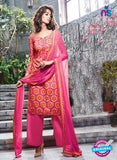 Ganga 6060 Pink and Orange Printed Glace Cotton Pakistani Suit