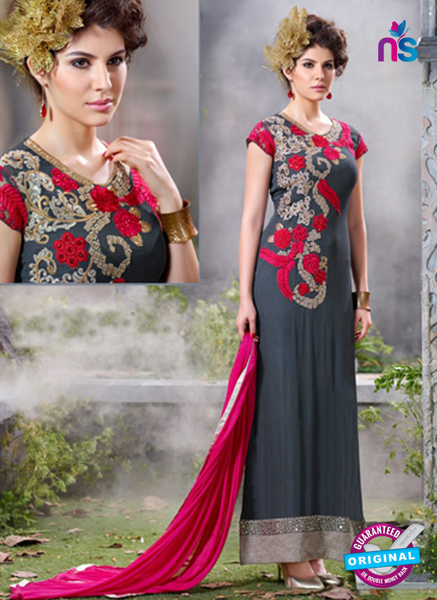 SC 12555 Grey and Pink Embroidered Georgette Party WearDesigner Suit