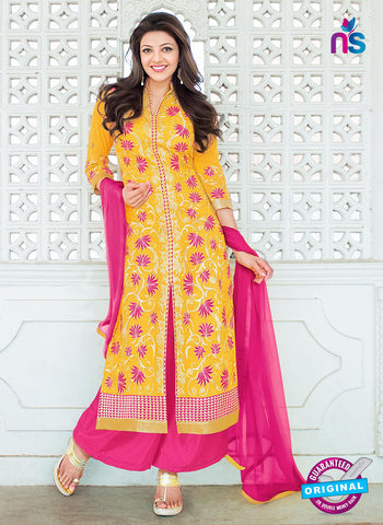 NS10317 Yellow and Pink Georgette Designer Straight Suit