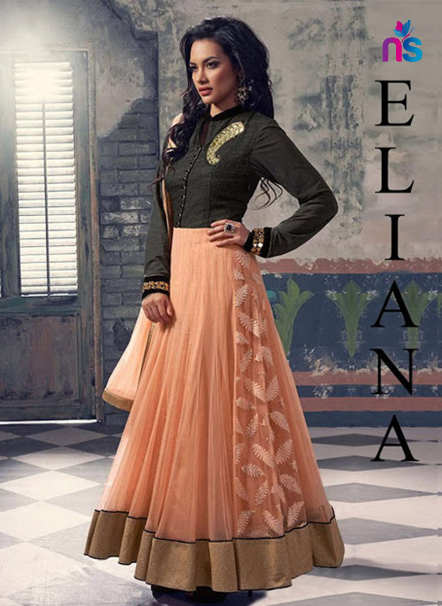 SC 12434  Black and Peach Embroidered Georgette Party Wear Anarkali Suit